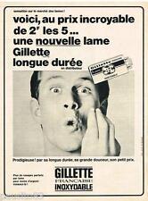 PUBLICITE ADVERTISING 105  1965  GILETTE   lames de rasoir INIOXYDABLE