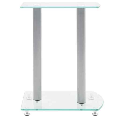 vidaXL Set of 2 Studio Audio Monitor Speaker Stands Aluminum Glass Transparent