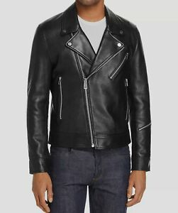 $684 Deadwood Mens Black Classic Full Zip Leather Moto Biker Jacket Coat Size 46