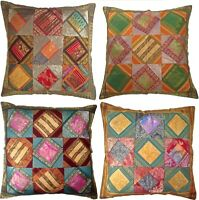 "Large Cushion Covers Recycled Sari Fabric 24"" 60cm Blue Red Green Brown Orange"