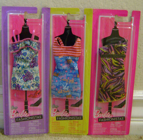 BARBIE FASHIONISTAS FASHION PARTY TIME CLOTHES LOT OF 3 NEW