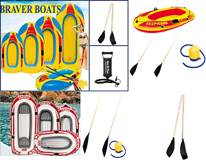 1 2 3 4 Person Inflatable Dinghy Raft Boat Beach Holiday Fun Pump And Oars Sport