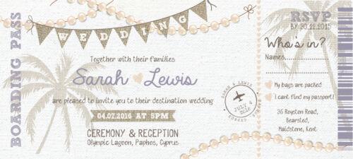 SAMPLE Shabby Chic Vintage Board Pass Wedding Invitations//Tickets!