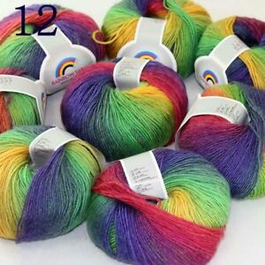 AIP Soft Cashmere Wool Colorful Rainbow Shawl DIY Hand Knitting Yarn 50grx8 12
