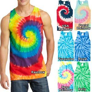 Mens-Tie-Dye-TANK-TOP-Spiral-Tye-Die-Sleeveless-T-Shirt-S-XL-2X-3X-4X-NEW