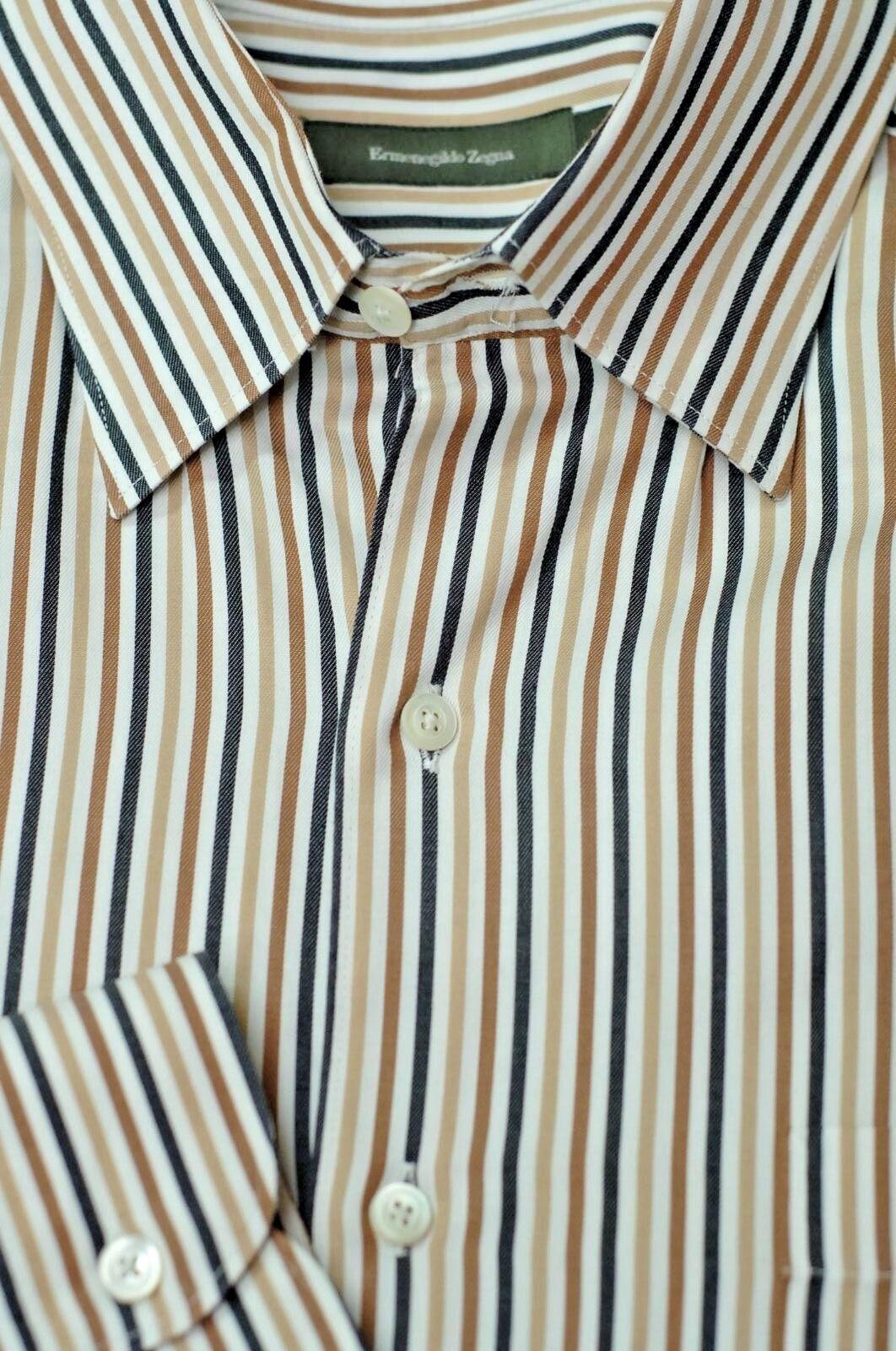 Ermenegildo Zegna Men's White Beige & Brown Stripe Cotton Casual Shirt L Large