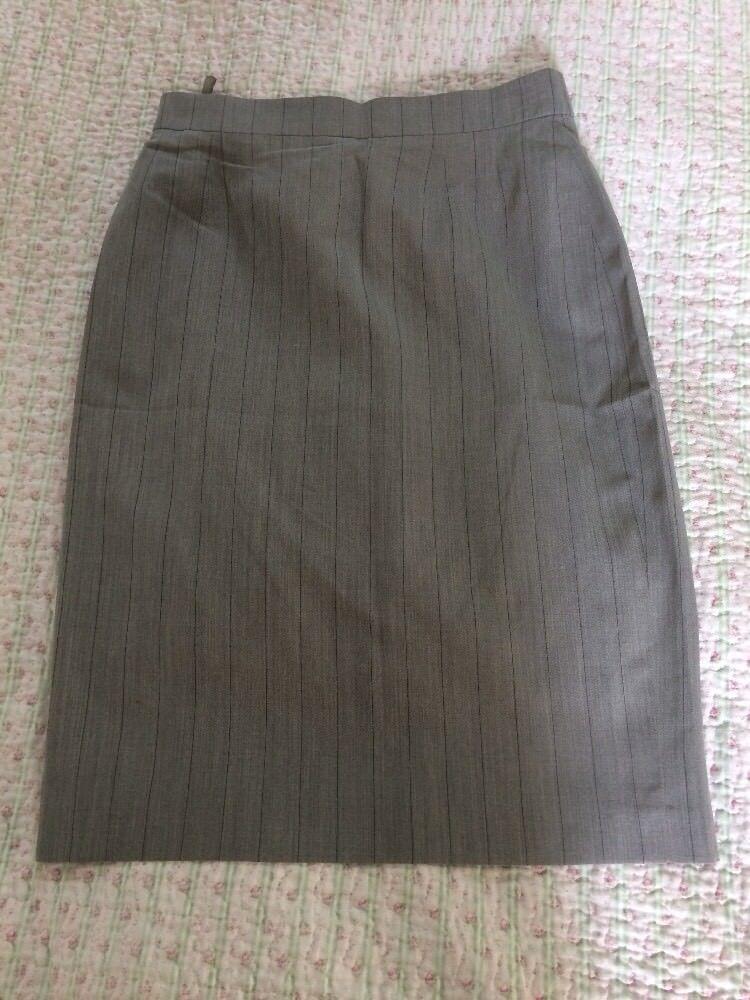 Luxurious ESCADA MARGARETHA LEY Pure Silk Grey Stripes Pencil Skirt-size 8 VGC