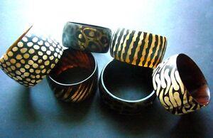 Image Is Loading African Ethnic Batik Horn Bangle Bracelet Small Medium