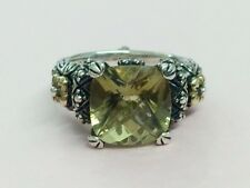 VINTAGE STERLING SILVER & 18K GOLD CITRINE RING BY BARBARA BIXBY SIZE N 1980