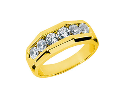 Real 1.50ct Round Cut Mens Wedding Band Ring Solid 18k Yellow Gold F VS2 Channel