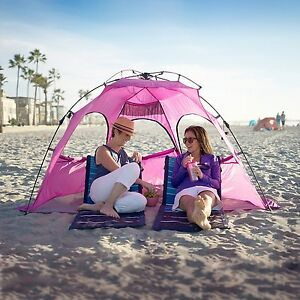 Image is loading Pink-Beach-Tent-Cabana-Canopy-Umbrella-Outdoor-Sun- : beach tent umbrella - memphite.com