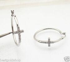 "1"" Diamonique CZ Sideways Cross Hoop Earrings AntiTarnish Real Sterling Silver"