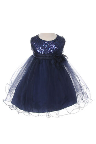 Flower Girl Dress Sequin Double Mesh Special Occasion Dress Navy Blue
