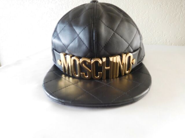 eb2da7dc913b0 Moschino Couture Black Quilted Leather Baseball Cap Hat- Size Medium ...