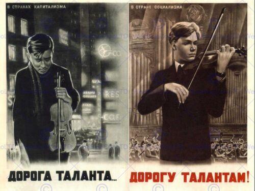PROPAGANDA CULTURAL MUSIC OPPORTUNITY TALENT SOVIET USSR VIOLIN POSTER BB2436B