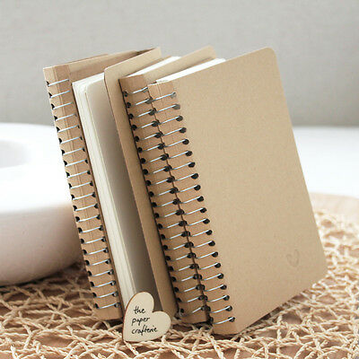 KRAFT NOTEBOOK Small Blank Spiral Journal Diary Memo Pocket - 10 pieces