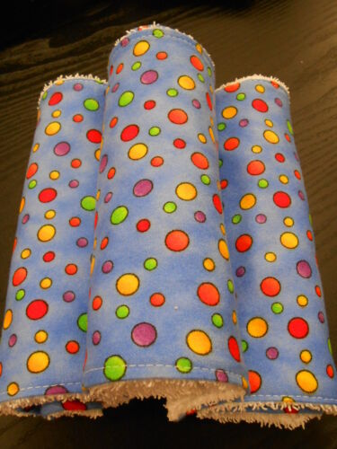 Bright Bubbles on Blue Burp Cloths Set of 3 Towelling Backed GREAT GIFT IDEA!!