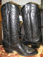 Acme Black Mens Leather Cowboy Boots Size 8 D
