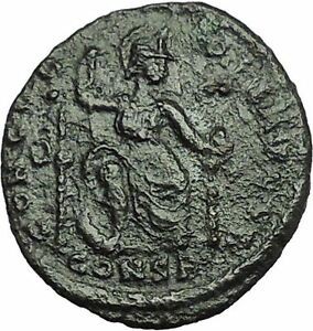THEODOSIUS-I-378AD-RARE-Ancient-Roman-Coin-Constantinopolis-seated-i34894