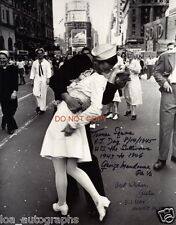 """The Kiss V-J Day in Times Square WWII Reprint Signed 8x10"""" Photo RP"""