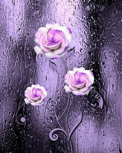 Purple black white wall art photo print home bath decor bathroom bedroom floral ebay Purple and black bathroom ideas