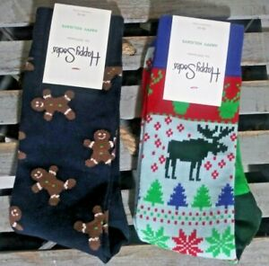Set Of 2 HAPPY SOCKS Christmas Reindeer Gingerbread Cotton Crew Shoe Size 8-12