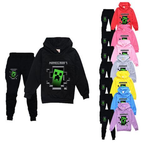 Hosen Set Kapuzen Trainingsanzug Beiläufig Jungen Mädchen Minecraft Hoodies