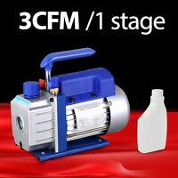 3cfm 1/4hp Vacuum Pump Rotary Vane Deep Air Tool Hvac A/c R134a Refrigerant Set