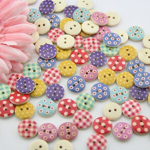 100pcs-15mm-Mixed-Round-Dot-Pattern-2-Holes-Wood-Buttons-Sewing-DIY-Scrap-Sell