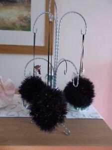HAND-Knitted-Natale-Decorazioni-Bauble-Nero