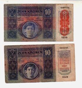 Austria-10-corone-1915-e-1919-MB-BB-Poor-G-Pick-19-e-51-lotto-1658