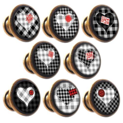 Zinc Alloy Knobs Red /& Black Hearts 30mm Cupboard Drawer Door Handles Decorated
