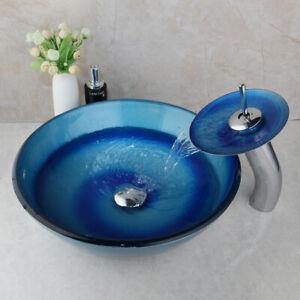 Blue Tempered Glass Bathroom Basin Vessel Sink Brass Faucet Mixer Tap Combo Set Ebay