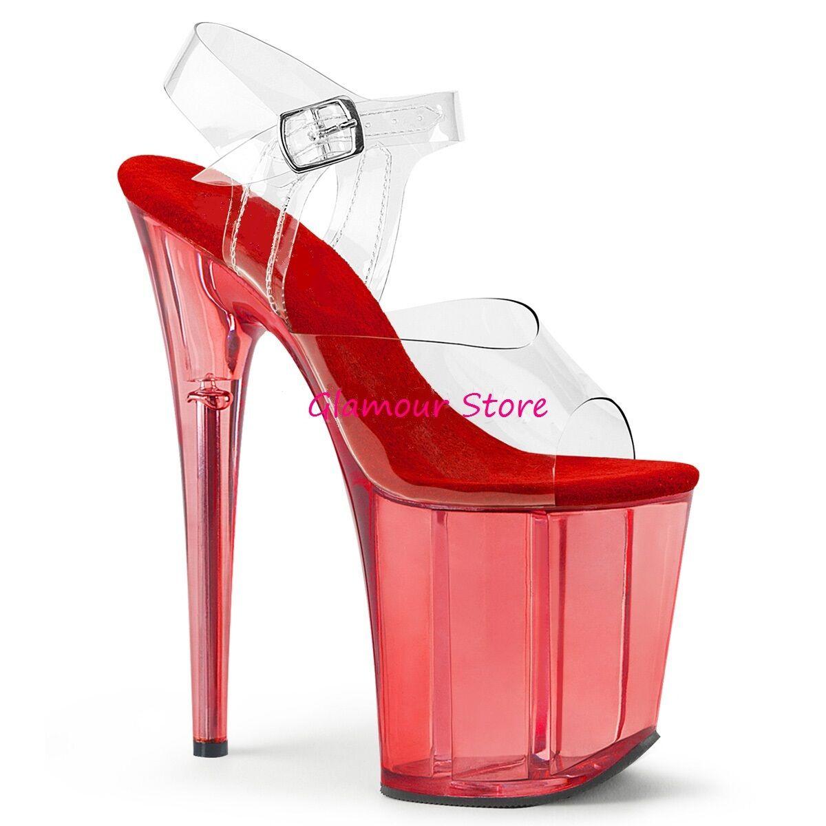 Sexy SANDALI tacco 20 dal 35 al 40 TRASPARENTE ROSSO plateau scarpe Glamour | Lasciare Che Il Nostro Commodities Andare Per Il Mondo  | Scolaro/Ragazze Scarpa