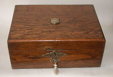 Antique Solid Oak Sewing Box With Key