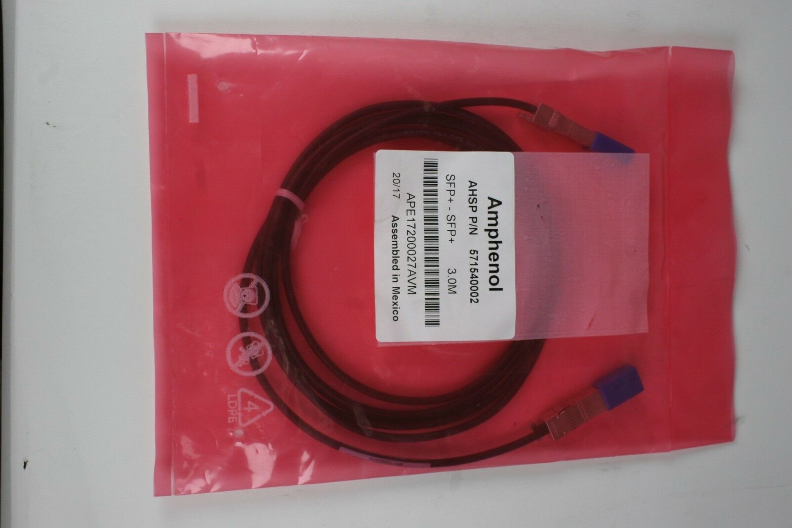 Amphenol 571540002 3m SFP 10GbE Direct Attach Passive Copper Cable twinaxial