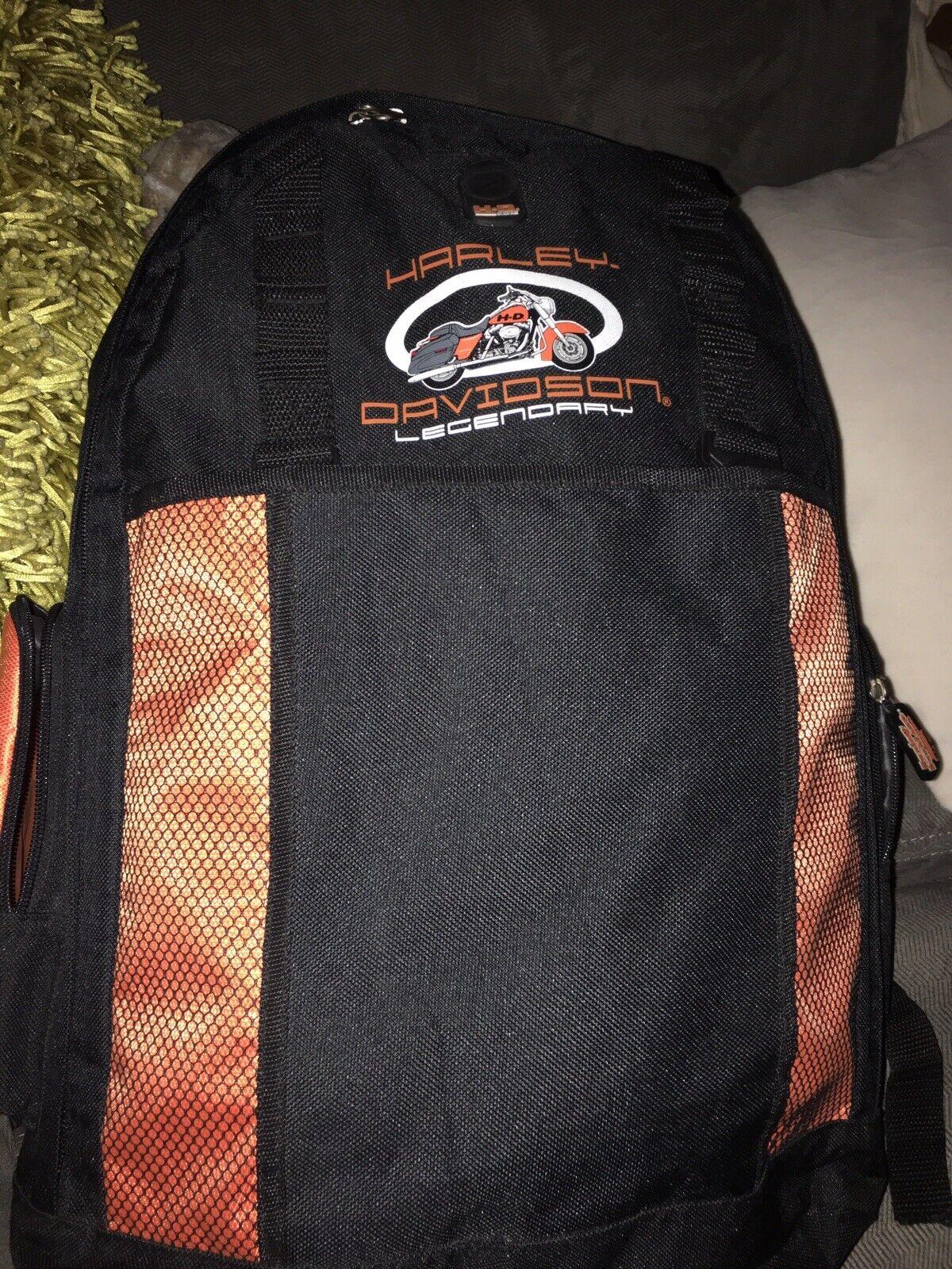 Harley Davidson Back Pack Black Orabge Used