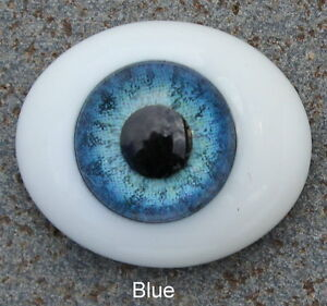 Solid Glass, Flatback Oval Paperweight Eyes - Blue, 12mm