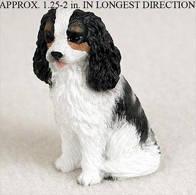 Cavalier King Charles Mini Resin Dog Figurine Statue Hand Painted Black/White