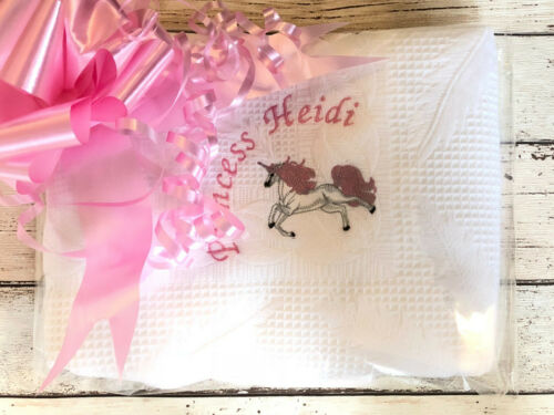 Personalised Baby Blanket Shawl Unicorn Princess Embroidered Name Newborn Gift