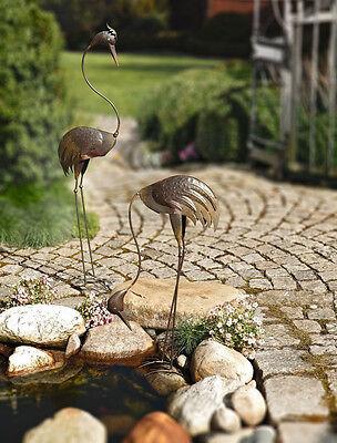 Gartenfigur Vogel Metall Fischreiher 2er-Set  stehend und gebückt