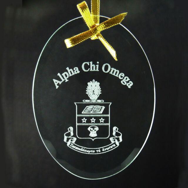 Alpha Chi Omega, ΑΧΩ,  Name & Crest Ornament/Sun Catcher Beveled Crystal