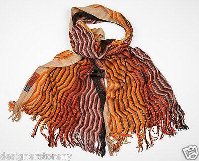 MISSONI Wool Shimmer Mini ZigZag Scarf in Orange SC32WMD3334 0002