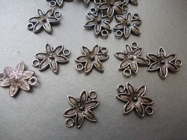 10 x FLOWER CONNECTOR LINKS, SILVER COLOUR TIBETAN STYLE, BRACELET/NECKLACE (c2)