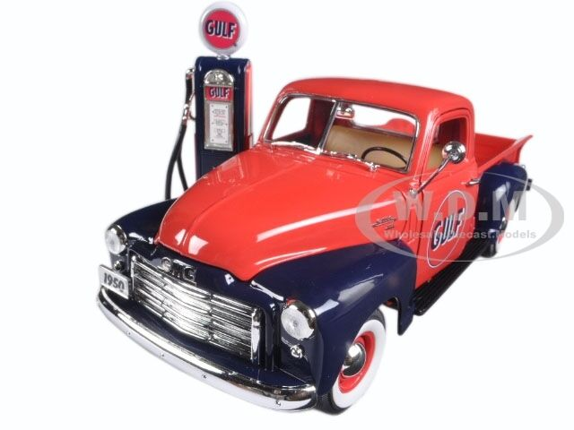 1950 Gmc 150 Pickup Truck Gulf Oil W Vintage Gas Pump 1 18 Greenlight