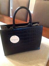 Christian Lacroix Paris Women's Black Leather Croc Handbag NWT