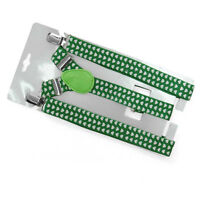 Shamrock (clover) Green And White Suspenders In Adult Size (st. Patrick's Day)