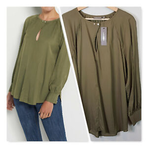 SUSSAN-Womens-Washed-Khaki-Twill-Blouse-Top-NEW-TAGS-Size-AU-12-or-US-8