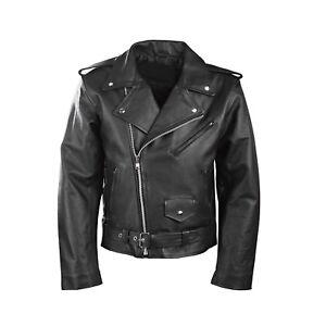 Herren-Motorrad-Perfecto-Brando-100-Echt-Fashion-Leder-Jacke-Schwarz-Biker