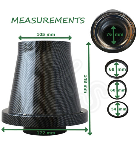 VW 1 SHEILDED CONE BLACK CARBON UNIVERSAL AIR FILTER /& ADAPTERS